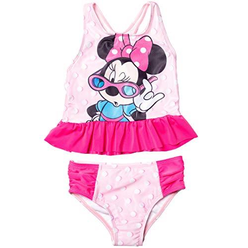 Disney Minnie Mouse Toddler Girls Racerback Peplum 2 Piece Tankini Swimsuit Set Pink 3T