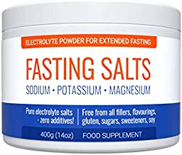 Fasting Salts: Sodium, Potassium, Magnesium. Pure Electrolyte Powder for Extended Fasting. Zero Additives: Free from All Fillers, Flavourings, Sugar, Sweeteners, Gluten. 400g.