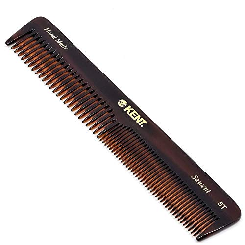 Kent 5T 6.6 Inch Double Tooth Hair Dressing Comb, Fine and Wide Tooth Dresser Comb For Hair, Beard and Mustache, Coarse and Fine Hair Styling Grooming Comb for Men, Women and Kids. Made in England