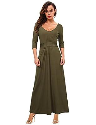 GloryStar Women's Sexy Double V Neck 3/4 Sleeve Empire Waist Casual Long Maxi Party Dress