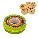 Nahrungsmittelform Schneider für Kinder 5 / 6PCS Kunststoff-Plätzchen Cutter-Biskuit-Form Regenbogen Teigschneider Weihnachtsbaum-Blumen-Form-Gebäck-Form-Backen Dekoration, Circel,