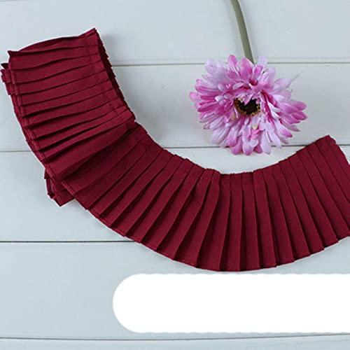 2 m / lote plisados de organo de gasa rosa gris azul marino negro blanco encaje puño escote vestido plisado ropa de encaje material de tela Z157-vino rojo 8cm