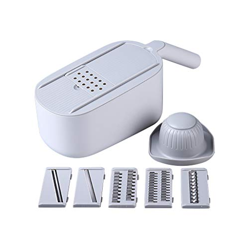 Tomsi Vegetable Chopper, Multifunctional Slicer with Container, Household Kitchen Cutter for Veggie, Fruit Salad, Onion, Potato (Gray)