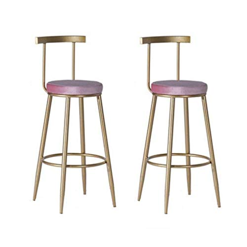 FTFTO Living Decoration Chairs Stool Bar Stool Dining Chair Nordic Breakfast Dining Table Stool Metal Wrought Iron High Stool Pack of 2 Lightweight Furniture (Size : 75CM)