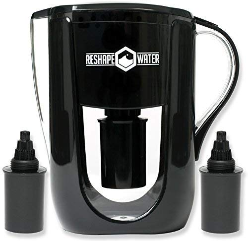 Reshape Water 10-Cup Pitcher with 2 Long-Lasting Cost Effective Anti-Oxidizing Filters That Increase Ph, Remove Chlorine and Heavy Metals, and Improve Taste. Holds 3.5 Liters.