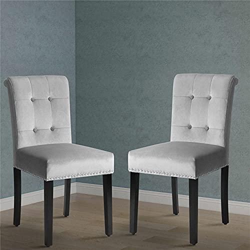 2er Set Esszimmerstühle Küchenstuhl mit Eiche Bein, Polsterstuhl Wohnzimmerstuhl mit Rückenlehne
