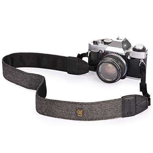 TARION Camera Shoulder Neck Strap Vintage Belt for All DSLR Camera Nikon Canon Sony Pentax Classic White and Black Weave (Upgraded Version)
