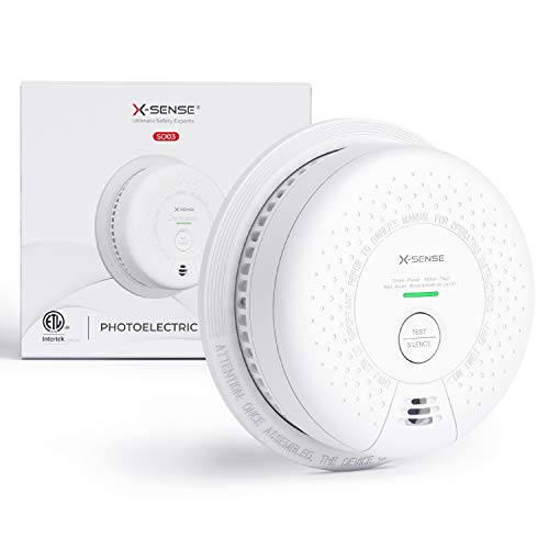 XSense Smoke Detector Alarm Not Hardwired 10Year Lithium Battery Fire Alarm with Photoelectric Sensor Compliant with UL 217 Standard AutoCheck amp Silence Button SD03