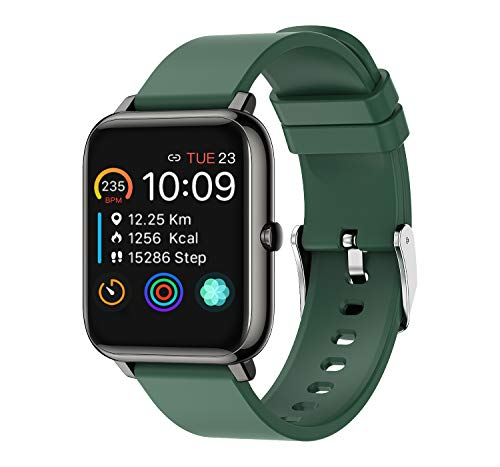 Rogbid Rowatch 1 Smart Watch 2021 Compatible iPhone iOS Android Fitness Tracker Sleep Heart Rate Blood Pressure Monitor Step Counter Meter Bluetooth 1.4'' Touch Screen Smartwatch for Men Women(Green)
