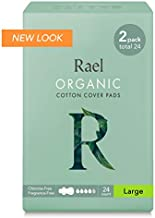Rael Certified Organic Cotton Menstrual Large Pads - 2Pack/ 24 Total - Ultra Thin Natural Sanitary Napkins with Wings (2 Pack),24 Count