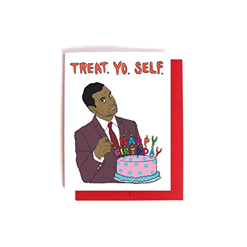 Tom Haverford Treat Yo Self Birthday Card -- Parks and Recreation Card
