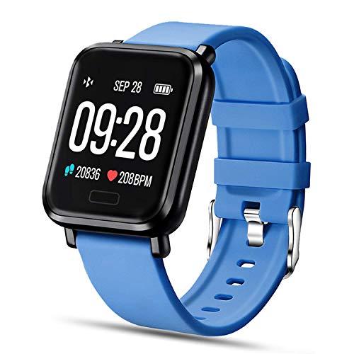 Tipmant Reloj Inteligente Mujer Hombre Smartwatch Pulsera de Actividad Inteligente Impermeable IP68 Pulsómetros Podómetro Monitor de Sueño Calorías para iPhone Android Xiaomi Samsung Huawei (Azul)
