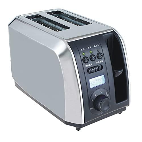ZEMENG Temporizador Digital Tostadora eléctrica, Acero Inoxidable Desayuno Banking Máquina para Hornear 2 rebanadas Slots Horno de Tostada automática, 1000W, 220V