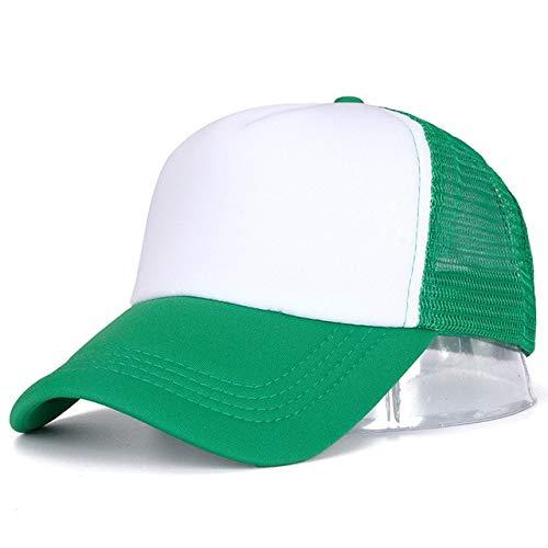 1 Uds, Gorra Unisex Informal, Gorra de bisbol de Malla Lisa, Sombreros Ajustables para Mujeres y Hombres, Gorra de Camionero de Hip Hop, Gorra de pap-Green White-54cm-60cm