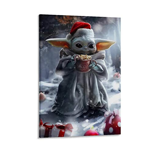SSKJTC Lienzo decorativo para pared de baño, decoración de pared de cocina, diseño mandaloriano de Navidad, lindo bebé Yoda, impresión de personajes modernos 60 x 90 cm