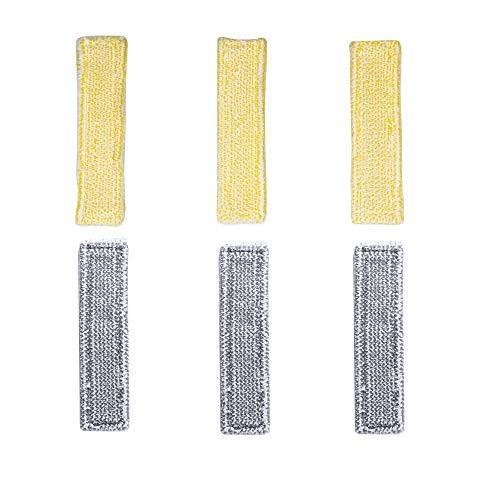 DEYF 3 gelb + 3-Grauer Mikrofaser-Moppdeckel für Kärcher WV-Sprühflaschen mit Klettverschluss WV 5 Premium WV 2 Premium (Plus), WV 5 Premium (Plus) 2.633-130.0