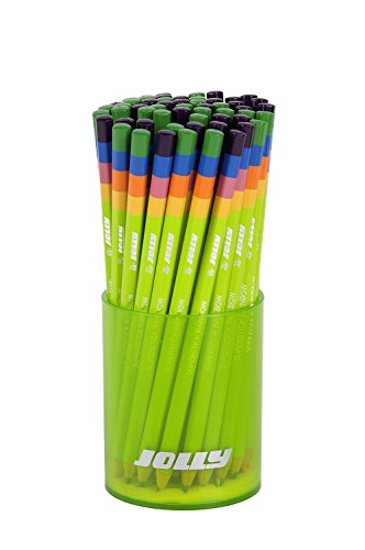 Jolly Supersticks Premium European 4-in-1 Colored Pencils, Assorted Colors with Storage Tub; Set of 60
