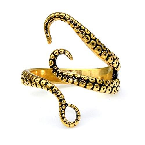 YDJGY Octopus Tentakel Ring, Klassischer Punk Herren ÖFfnungs Verstellbarer Ring Silber/Gold 2St