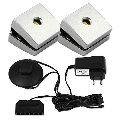 LED Glasbodenbeleuchtung Up Down 2er / 4er / 6er Set LED Clips LED Vitrinenbeleuchtung Schrankbeleuchtung Holzbeleuchtung inkl. LED Netzteil 230V (2er Set - Kaltweiß 6500)