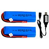 X9D Plus Battery 7.4V 3000mAh 8C Rechargeable 2S Lipo Battery for Frsky Taranis X9D Plus Radiolink Transmitter 2 Pack with USB Charger