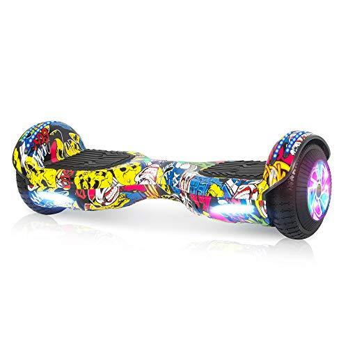M MEGAWHEELS Autobilanciato Hoverboard,Carico Massimo 100 kg, Certificato UL 2272, 6,5 Pollici con Musica Bluetooth e LED, Giocattolo e Regalo per Bambini Adulti, Hip-Hop