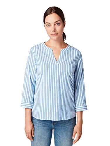 TOM TAILOR Damen Blusen, Shirts & Hemden Gemusterte Bluse royal Blue horizontal Stripe,42