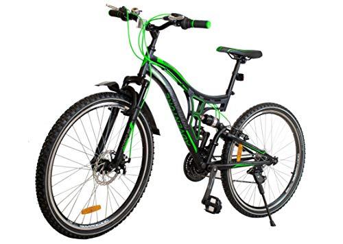 BDW Bicicleta de montaña Adventure de 26 pulgadas, suspensión completa, 18 velocidades, freno de disco, para niños y niñas, color verde