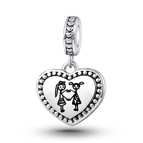 KunBead Jewelry Big Sis Lil Sis Sister Charms for Bracelets Dangle Love Heart Charm Bead for Snake Chain Bracelet