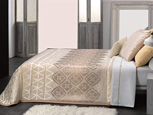 Cañete – confortino Bergamo Lit 90 – Blanc (linge de lit de couette tempérée comme fin ou bouti) Lit 150 cm Beige
