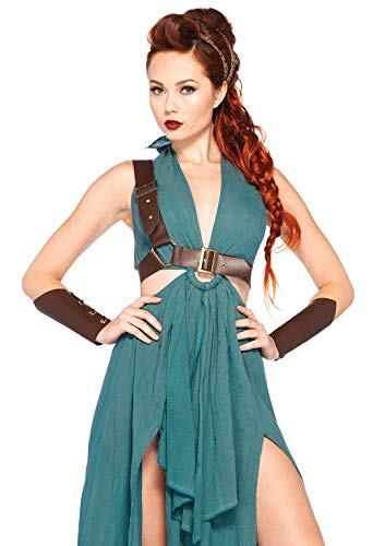 Leg Avenue Women's 4 Piece Warrior Maiden Costume, Green, Large