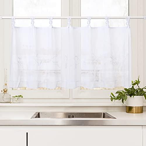 LinTimes Bistrogardine Voile Gardinen,Scheibengardine mit Stickerei kurz Vorhänge Dekoschal halbtransparente Halbfenster Küchenvorhänger, Weiß, 45 * 90 cm