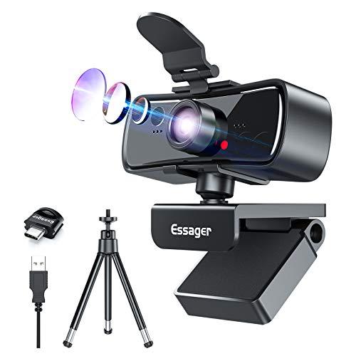 Webcam mit Mikrofon, 1080P HD USB Computer Kamera mit Privatsphäre Abdeckung & Web Cam Stativ, Pro Streaming Webcams für Laptop Desktop Mac, Zoom/Skype/Facetime/Teams, Videokonferenzen/Gaming