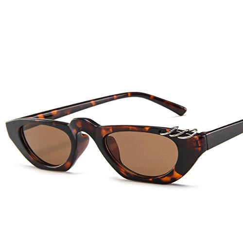 YHKF Sonnenbrillen Kleiner Rahmen Cat Eye Sonnenbrille Frauen Herren Designer Sexy Damen Sonnenbrille-Leopard_Tan