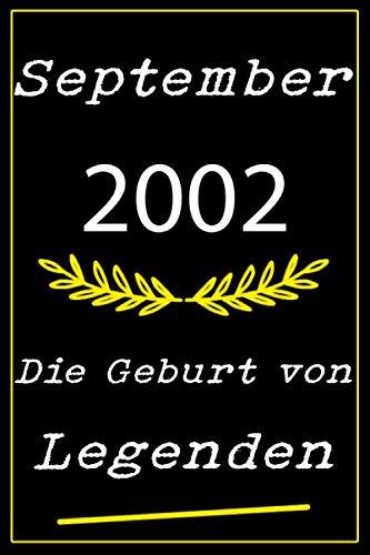 September 2002 Die Geburt von Legenden: 18 geburtstag geschenk frauen mann, geschenkideen für 18 jahre Bruder Schwester Freund - Notizbuch 120 Seiten