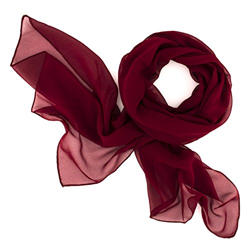 Dolce Abbraccio Damen Schal Stola Halstuch Tuch aus Chiffon für Frühling Sommer Ganzjährig Bordeaux Rot