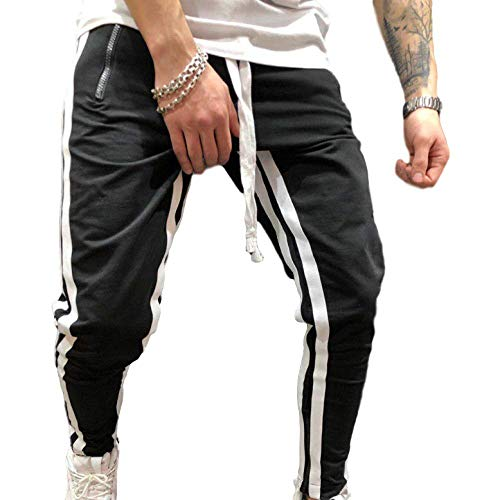 Herren Casual Pants Kordelzug Elastic Waist Loose Fashion Fitness Stitching Reißverschluss Fuß Sporthose 3X-Large