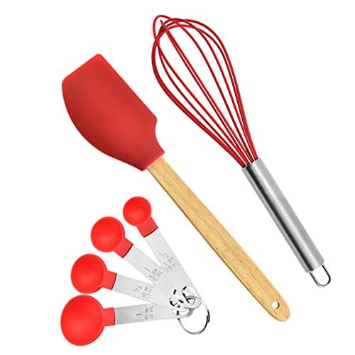 HEMOTON 3Pcs Espátula de Cozimento Colheres De Medição Set Balão Batedor de Ovos Batedor de Ovos Batedeira a Manteiga Bolo de Creme Raspador Ferramentas de Cozimento para Cozinha