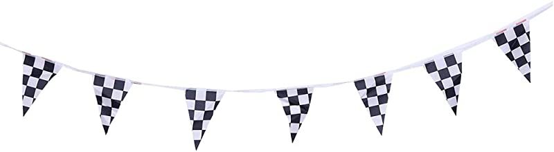 STOBOK Checkered Pennant Banner Racing Flag Party Flag Banner Accessory For Race Theme Birthday Party Decoration 38PCS Flags