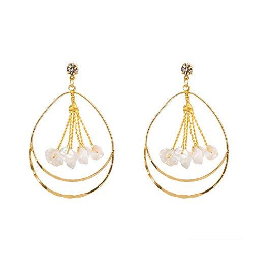 DFDLNL Conjuntos de Pendientes para Mujer Aros Pendiente Circular de Boda Borla de Perlas Pendientes Dorados Largos Colgante geométrico de Gota para Mujer Pendientes de Novia Regalo