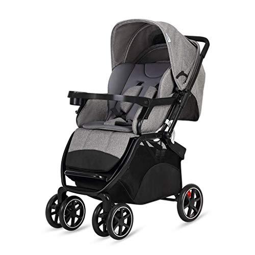 Carro de bebé, cochecito convertible Cochecito de sillón para niños pequeños, cochecito, canasta de almacenamiento, área de asiento grande para recién nacidos y niños pequeños (color: gris) fengong