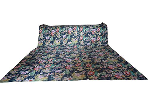 King/Twin Handmade Floral Throw Coverlet Kantha Traditional Bedspread Bohemian Kantha Bedding Cotton Work Decor Printed Ethnic Quilt (Blue Multi Flower, 90108 Inches)