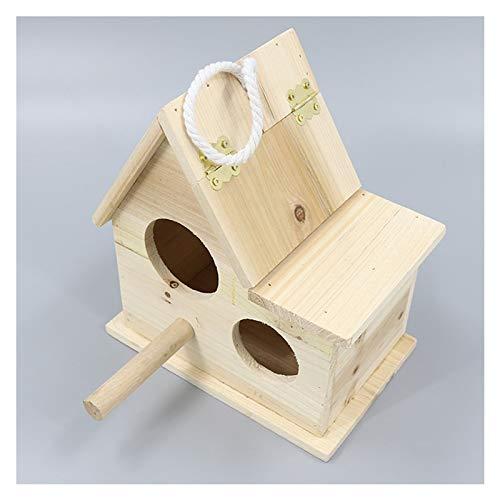 OMING Jaulas para pájaros Nest Box Bird House Caja de cría de Madera para Lovebirds, Parrotlets Caja de apareamiento Pájaros Naturales Huts Jaula de pájaros de Viaje