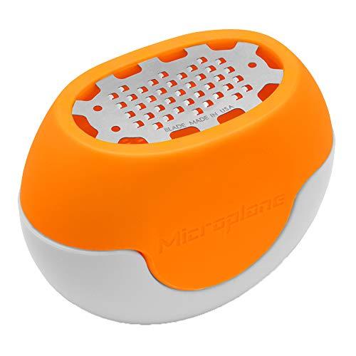 Microplane Grattugia Zester Flexi Zesti Fine Arancio Acciaio Inossidabile e Silicone per Limoni, Arance e Altri agrumi
