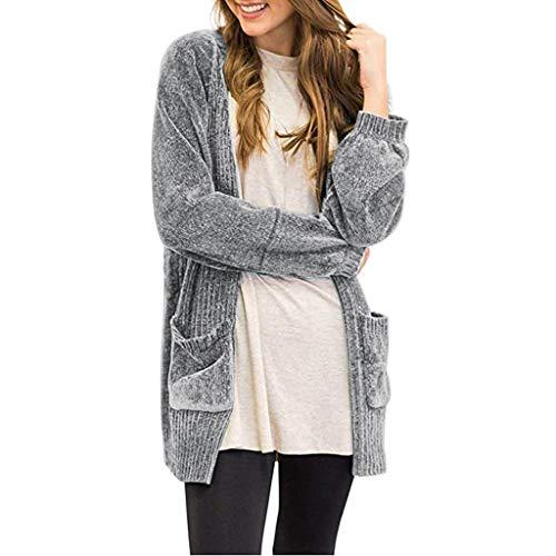 Women's Long Sleeve Open Front Sweater Pockets Soft Velvet Chenille Cardigans
