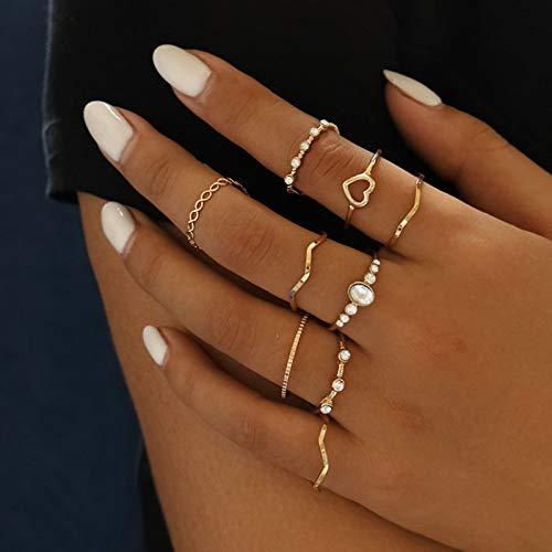 Ushiny Anelli da dito in cristallo Boho Set di anelli con cuore in oro Trendy Opal Anelli Moda Intagliato Anello Impilabile Gioielli Accessori per Donne e Ragazze (9 pezzi)