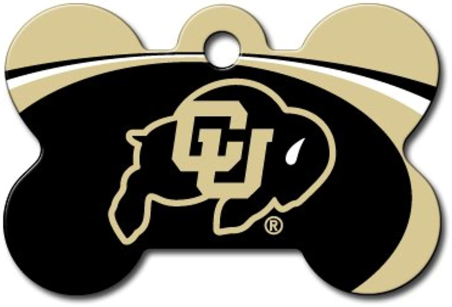 DogIDS Personalized Laser Engraved 1.5 x 1 inch colorado Buffaloes Bone Shape Pet ID Tag  Free Tag Silencer