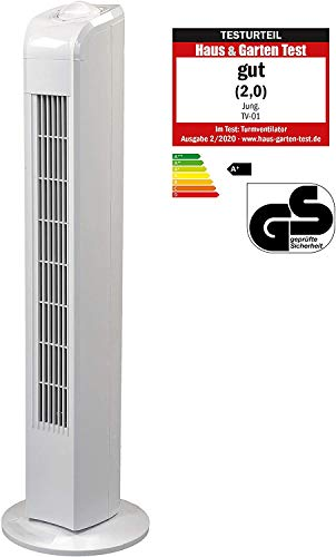 JUNG TVE21 Ventilator 76cm weiss - TÜV geprüft, Leise Turm-lüfter Lautstärke max 48dbA, Turmventilator ENERGIESPAREND 0,05 kW/h,3 Stufen,75° Oszillierend Drehend