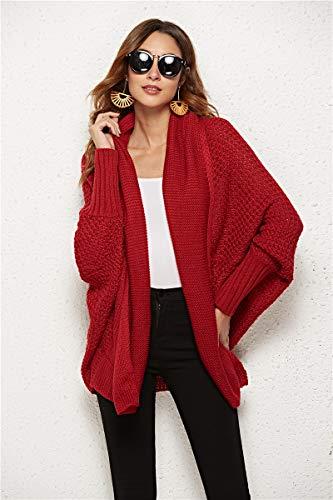 Muzboo Damen Strickjacke Pullover Fledermaus Stricken Outwear Casual Mode Warm - Rot - Einheitsgröße