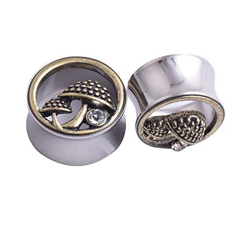 Jianghuayunchuanri Kit de Estiramiento de Oreja Oreja de Bronce Mushroom Acero Inoxidable del ampliador del oído del Pendiente de la aurícula Canal Señora Universal Joyería Piercing del Cuerpo