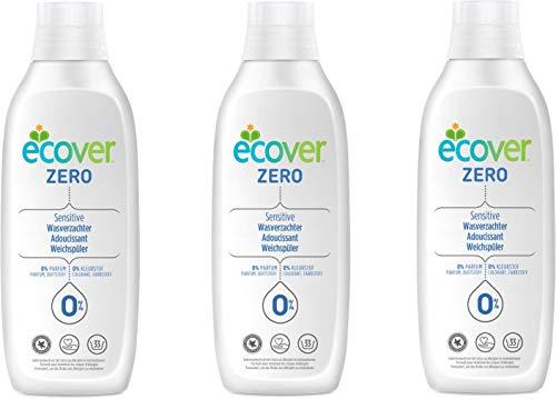 Ecover Zero Weichspüler für empfindliche Haut, biologisch abbaubar, 3 x 1000 ml